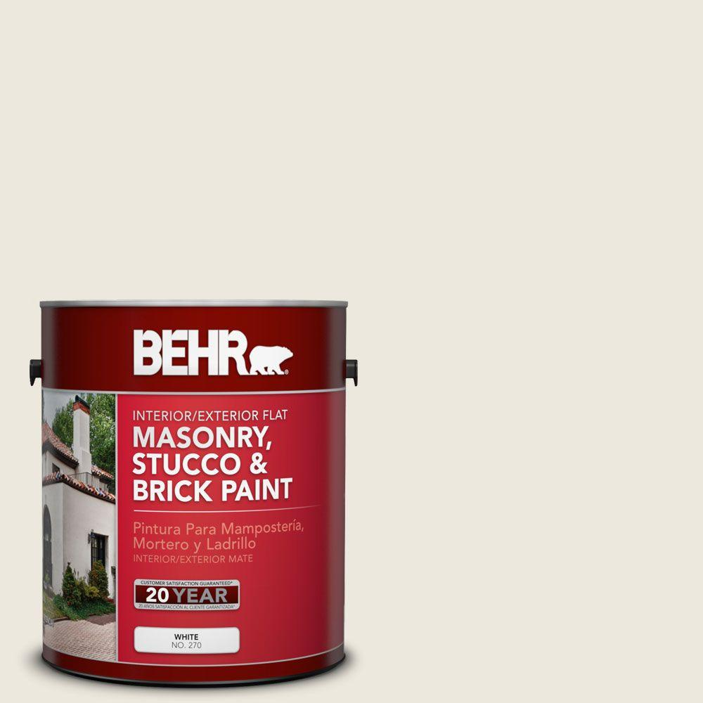 BEHR 1 gal. #MS-32 Glacier White Flat Masonry, Stucco and Brick Interior/Exterior Paint
