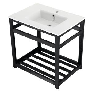 Kingston Brass KVPB30M81ST Dreyfuss 30X22 Carrara Vanity Top with Stainless Steel Legs Marble White//Polished Chrome