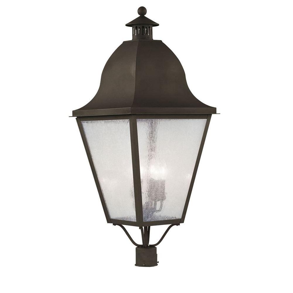 Livex Lighting Providence 4-Light Outdoor Bronze Incandescent Post Lantern