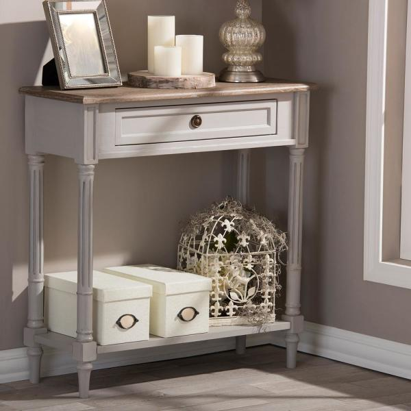 Baxton Studio Edouard French Inspired White Console Table 28862-6654-HD