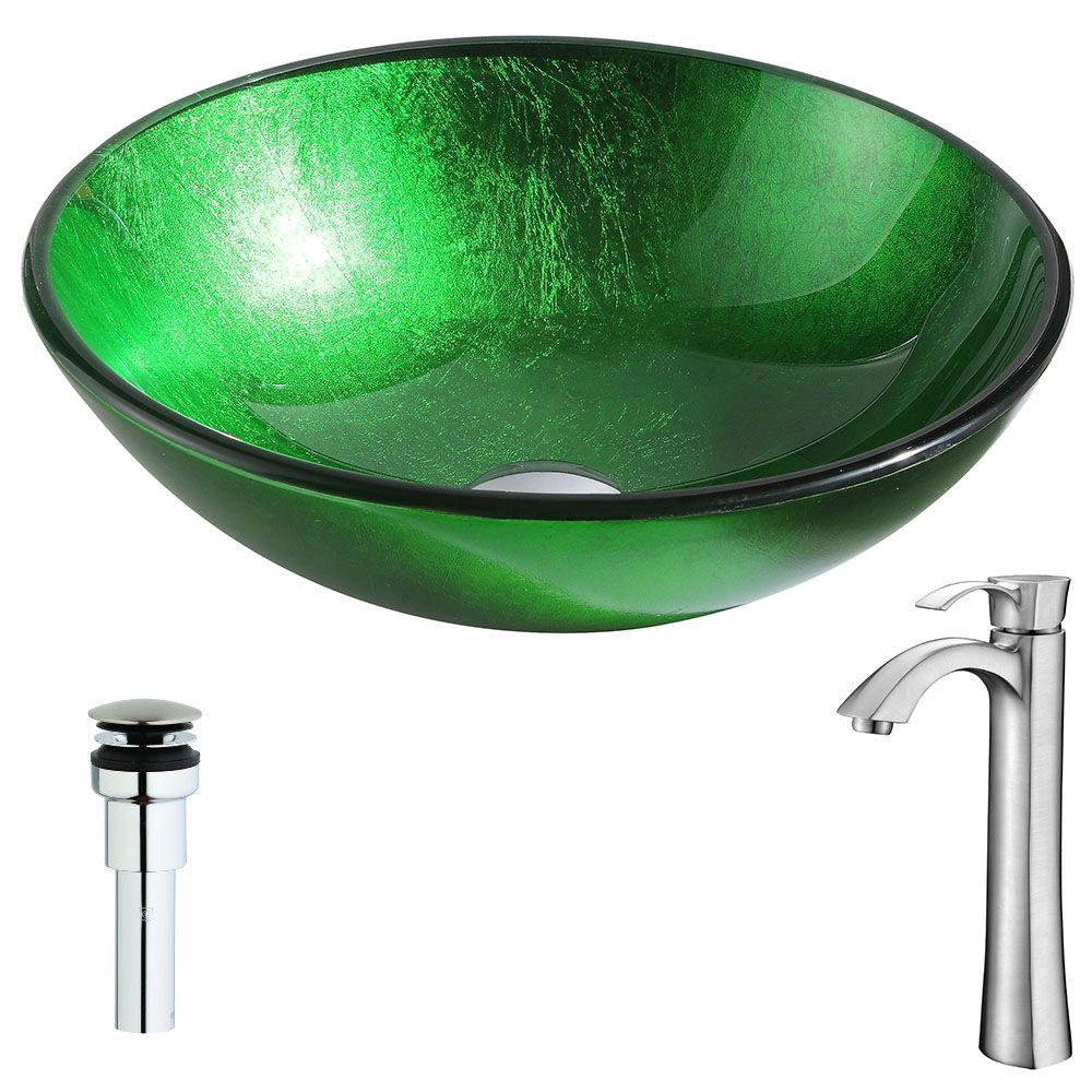 ANZZI Melody Series Deco-Glass Vessel Sink in Lustrous Green with Harmony Faucet in Brushed Nickel was $263.0 now $211.19 (20.0% off)