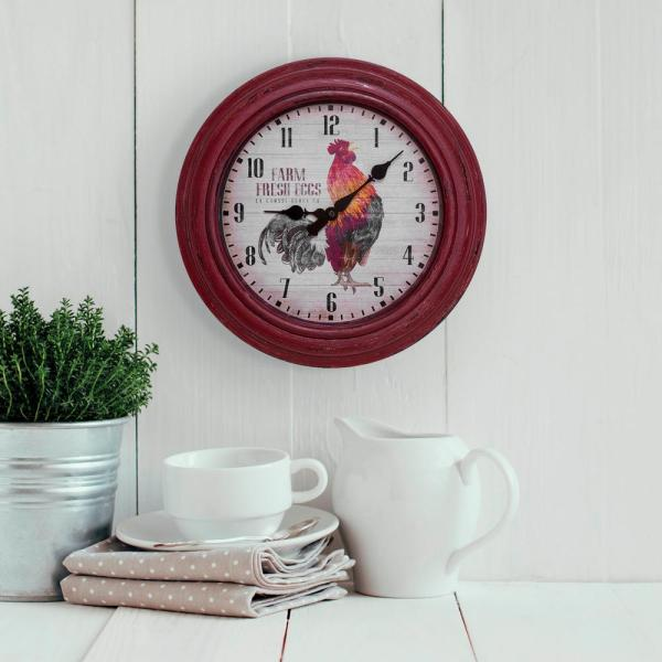 La Crosse Technology 12 in. Round Distressed Red Rooster Analog Wall