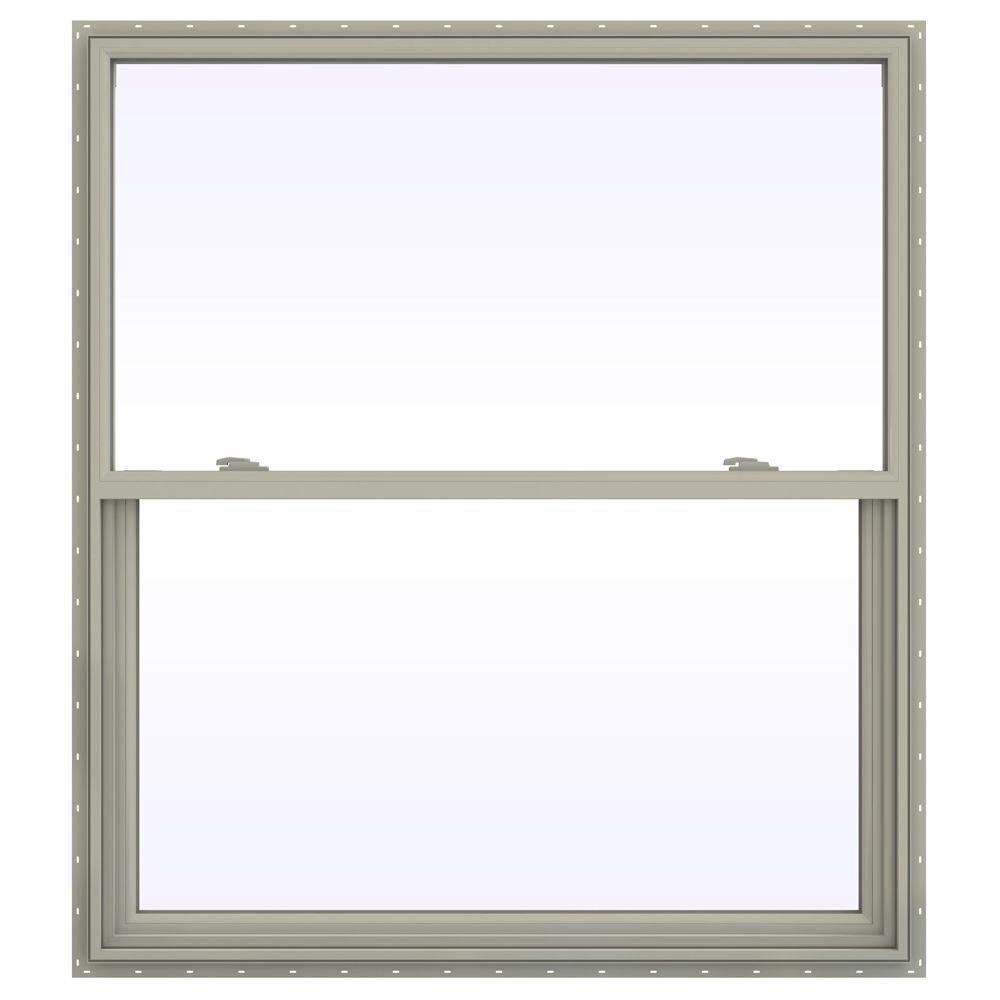 47.5 in. x 59.5 in. V-2500 Series Single Hung Vinyl Window - Tan