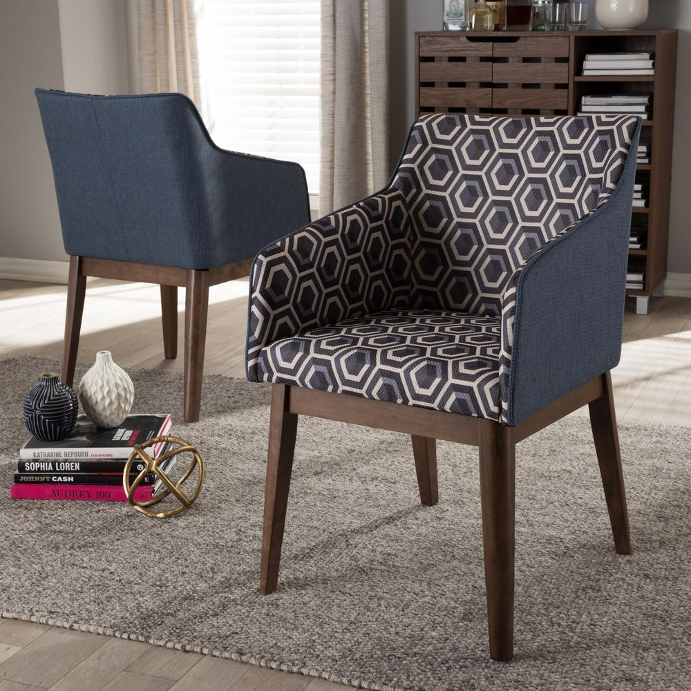 Missoni Style Print Accent Chair: Baxton Studio Reece Dark Blue Print Fabric Upholstered