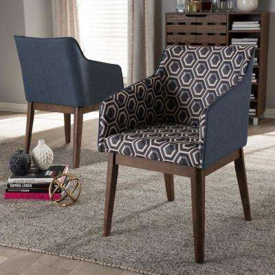 Reece Dark Blue Print Fabric Upholstered Accent Chair