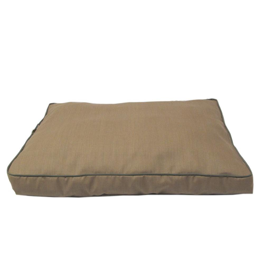 Large Tan with Green Cording Indoor/Outdoor Faux Gusset Jamison Bed