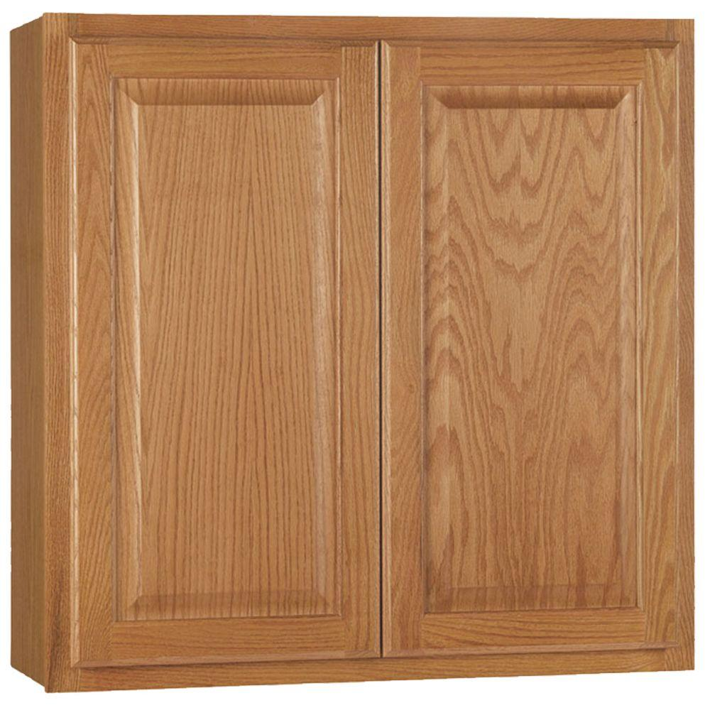 Hampton Bay Embled 30x30x12 In Wall Kitchen Cabinet Medium Oak