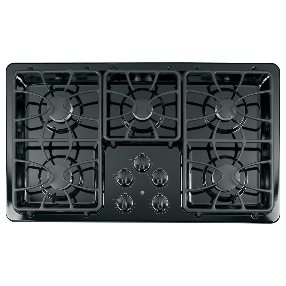 GE 36 in. Gas Cooktop in Black with 5 Burners including 2 Precise Simmer Burners