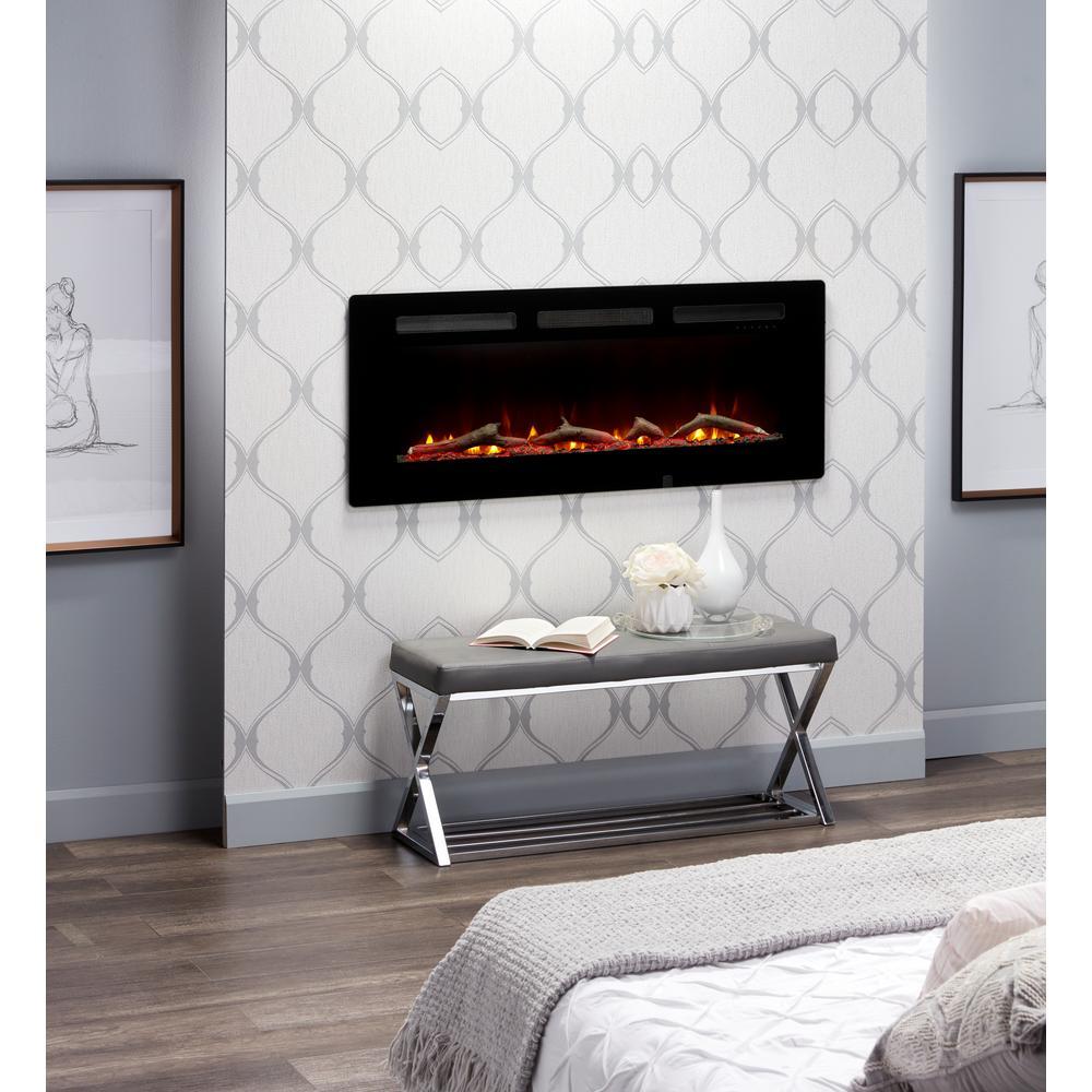 Sierra 48 In Wall Built In Linear Electric Fireplace In