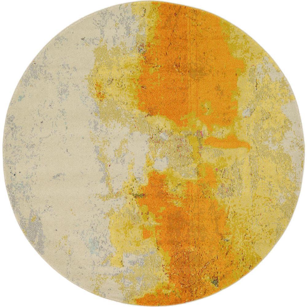 Estrella Rustic Yellow 6' 0 x 6' 0 Round Rug
