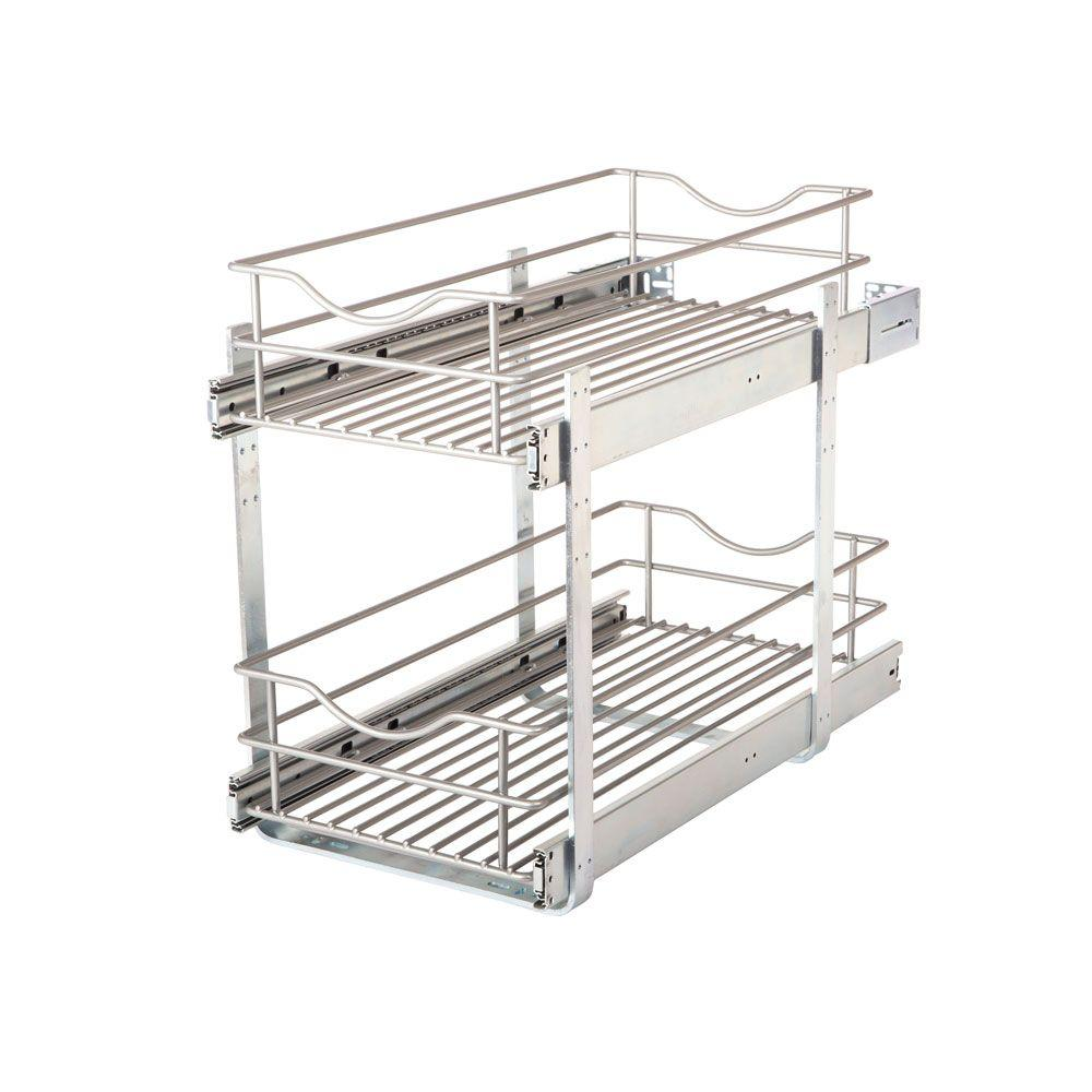 Home Decorators Collection Home Decorators Collection 11 in. Double Tier Wire Pull Out Basket, Silver metallic