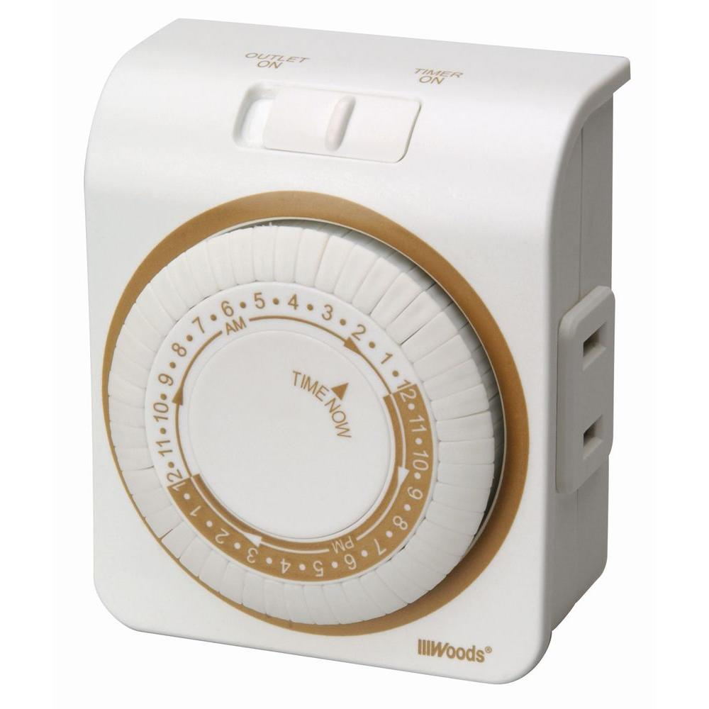 Woods Woods 15-Amp 24-Hour Indoor Plug-In Single-Outlet Mechanical Timer, White
