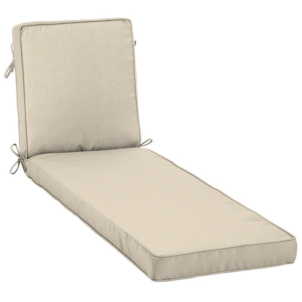 Sunbrella Canvas Flax Outdoor Chaise Lounge Cushion