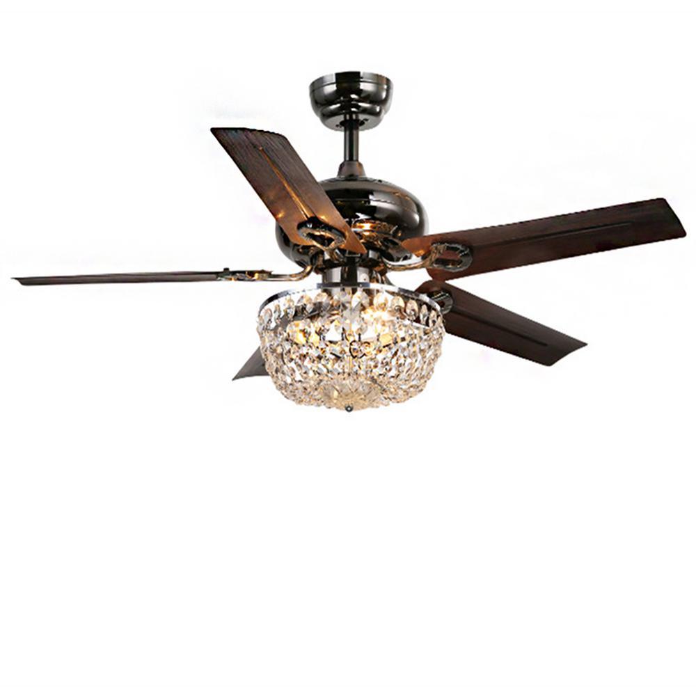 Angel 43 in. Indoor Bronze 5-Blade Crystal Chandelier Ceiling Fan