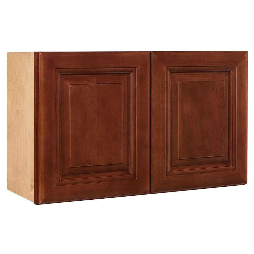 Home Decorators Collection Lyndhurst Assembled 30x18x12 in. Wall Double Door Cabinet in Cabernet