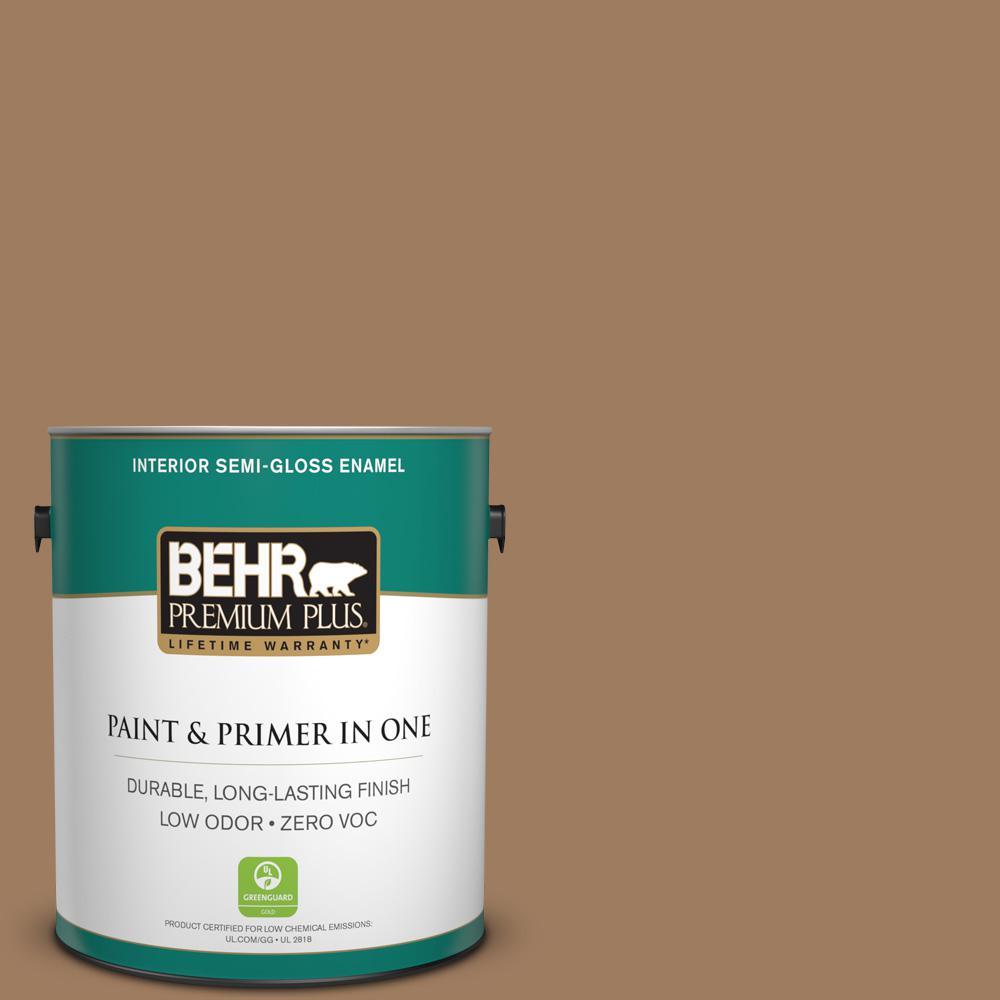 BEHR Premium Plus 1-gal. #BXC-08 Safari Brown Semi-Gloss Enamel Interior Paint