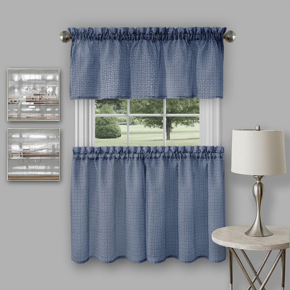 Achim Richmond Navy Polyester Tier And Valance Curtain Set
