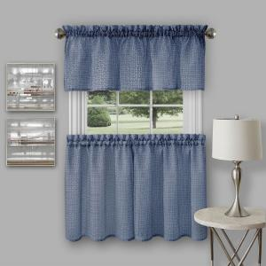 Achim Richmond Navy Polyester Tier and Valance Curtain Set - 58 inch W x 24 inch L by Achim