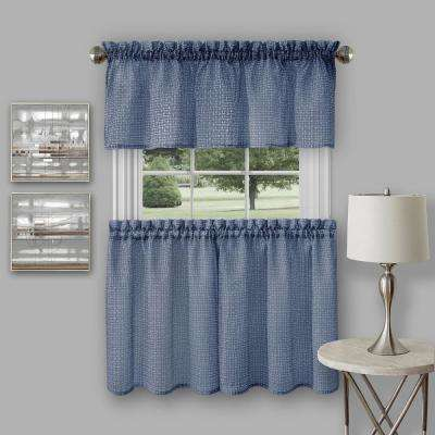 Richmond Navy Polyester Tier and Valance Curtain Set - 58 in. W x 24 in. L
