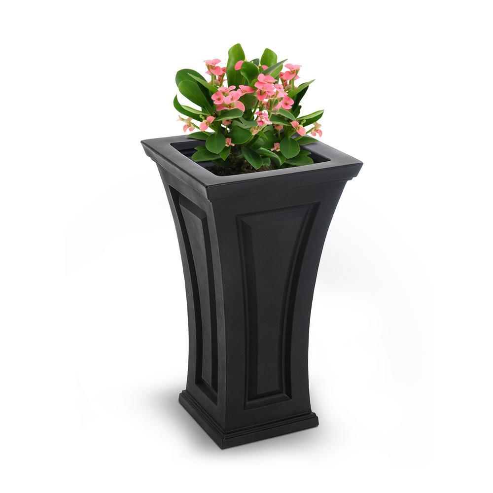 Square Black Plastic Column Planter