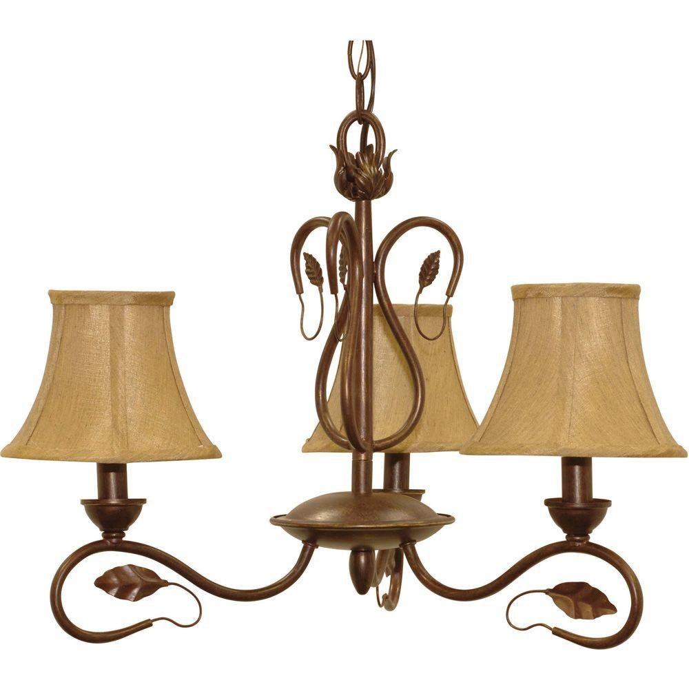 Glomar Vine Sonoma Bronze 3 Light Chandelier With Fabric Shades-DISCONTINUED