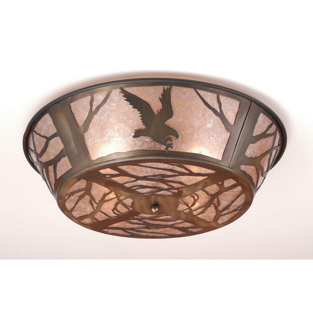 Illumine 4 Light Flushmount Antique Copper Finish Mica Glass