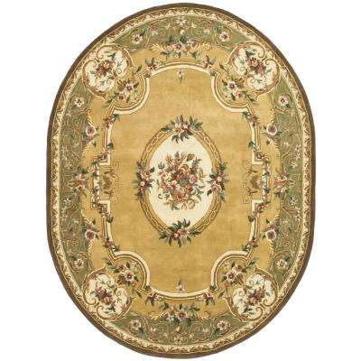 Classic Light Gold/Green 8 ft. x 10 ft. Oval Area Rug