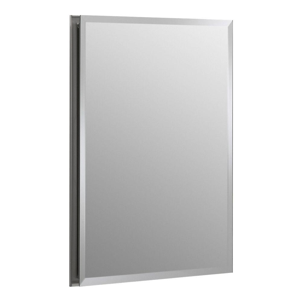 Kohler 16 in w x 20 in h x 5 in d aluminum recessed for 16 in x 60 in beveled door mirror