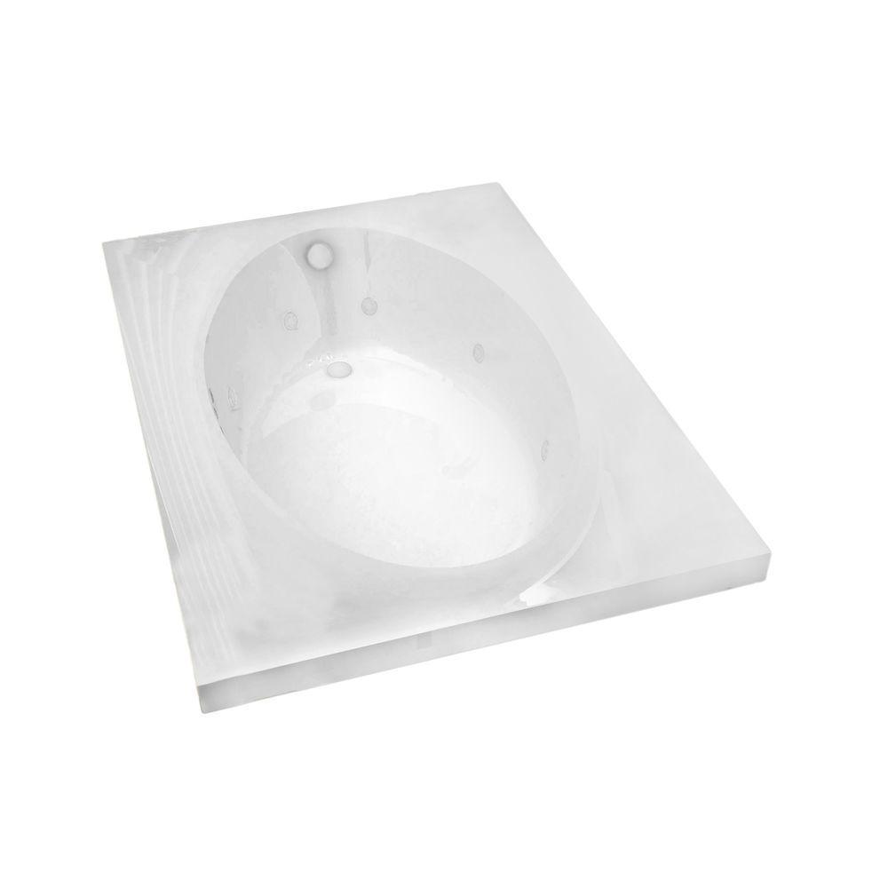 Imperial 6 ft. Rectangular Drop-in Whirlpool Bathtub in White