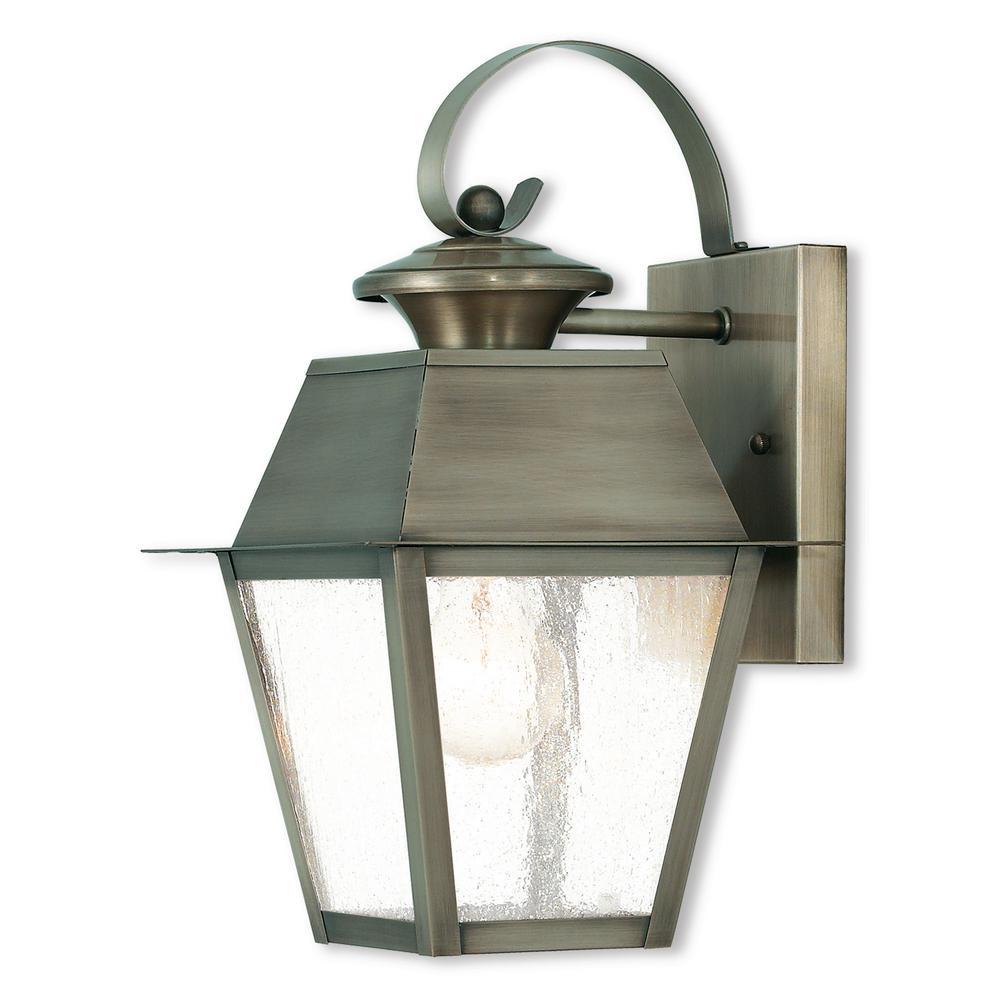 Mansfield 1-Light Vintage Pewter Outdoor Wall Mount Lantern