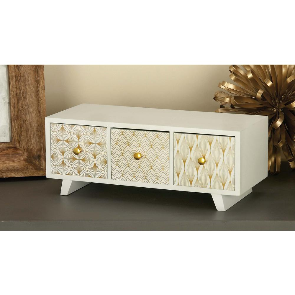 Modern Jewelry Box with 3 Drawers in Matte White
