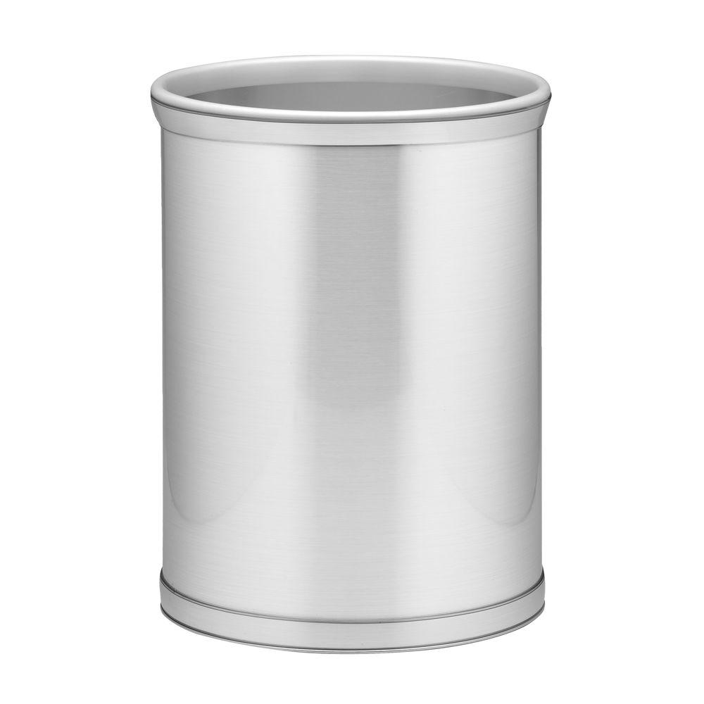 Mylar 13 Qt. Brushed Chrome Oval Waste Basket