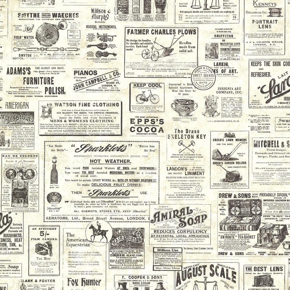 chesapeake adamstown cream vintage newspaper wallpaper-ctr64271