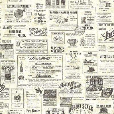 Adamstown Cream Vintage Newspaper Wallpaper