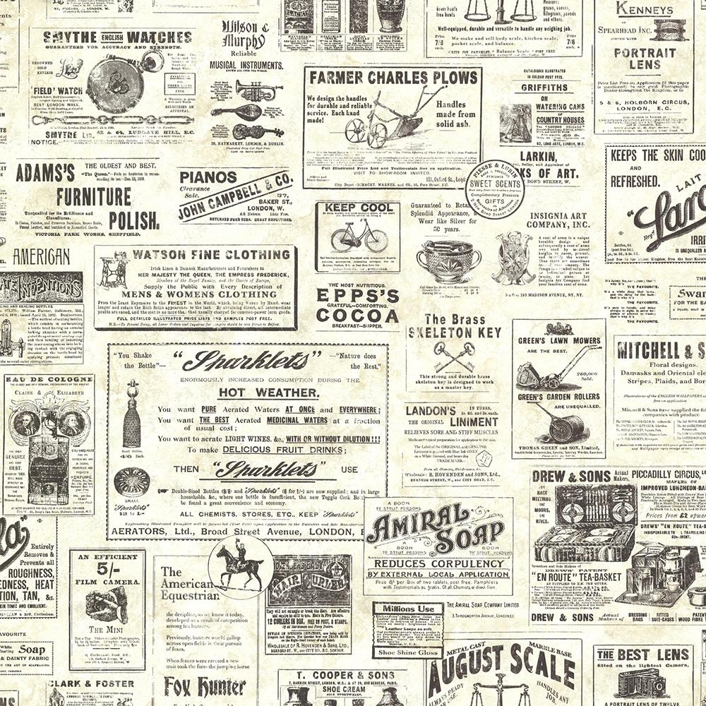 Adamstown Cream Vintage Newspaper Wallpaper Sample