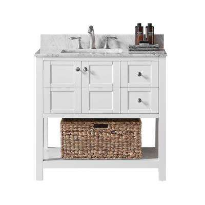 Makena 36 in. W x 22 in. D x 34.2 in. H Bath Vanity in White with Carrara Marble Vanity Top in White with White Basin
