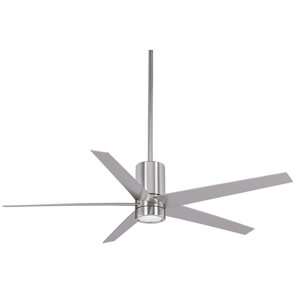 Minka Aire Symbio 56 In Integrated Led Indoor Brushed Nickel Ceiling Fan With Light Remote Control