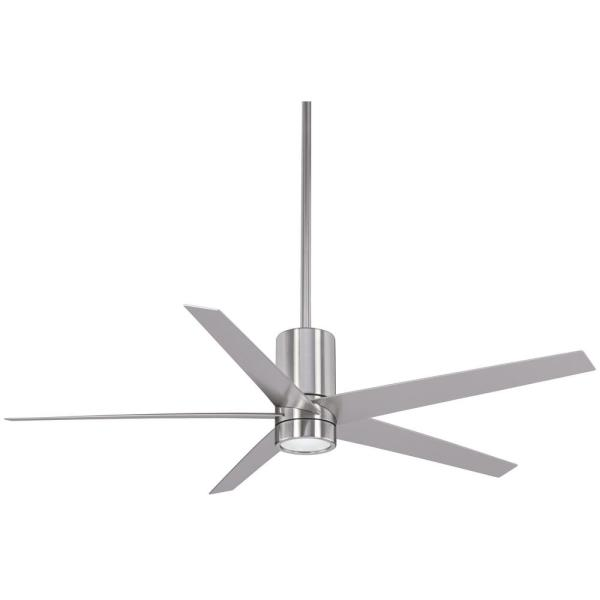 Symbio 56 in. Integrated LED Indoor Brushed Nickel Ceiling Fan with Light with Remote Control
