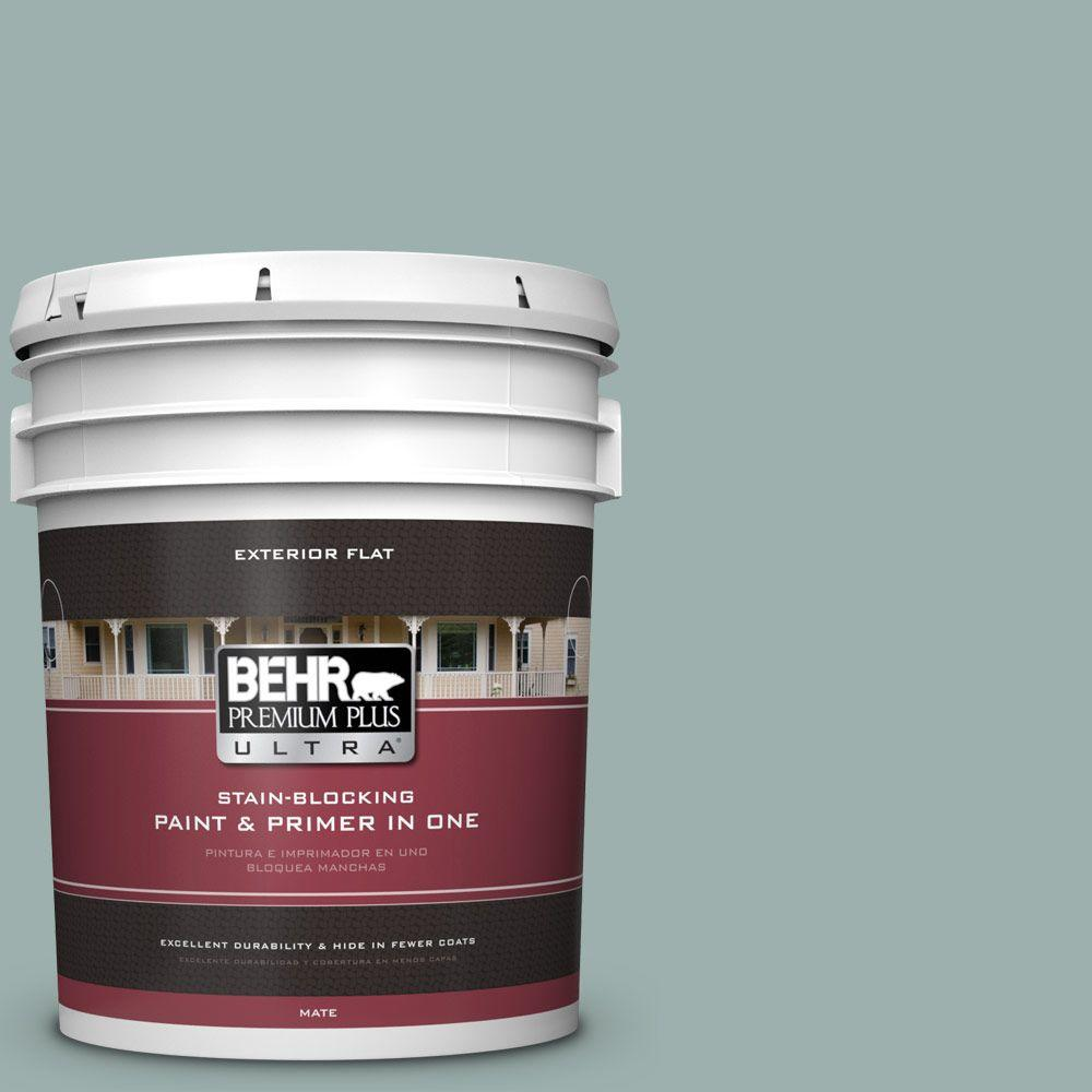 BEHR Premium Plus Ultra 5-gal. #490F-4 Gray Morning Flat Exterior Paint