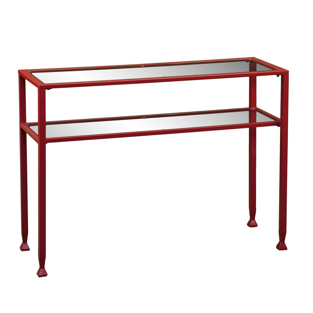 Red Glass Top Console Table