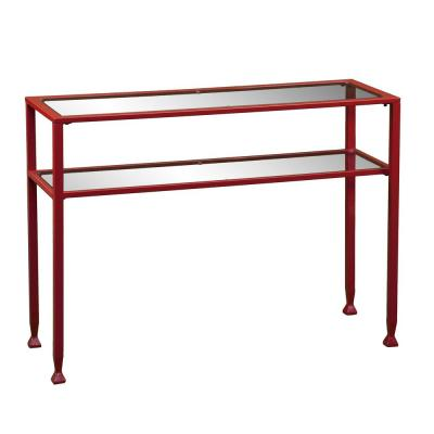 43 in. Red Standard Rectangle Glass Console Table with Storage