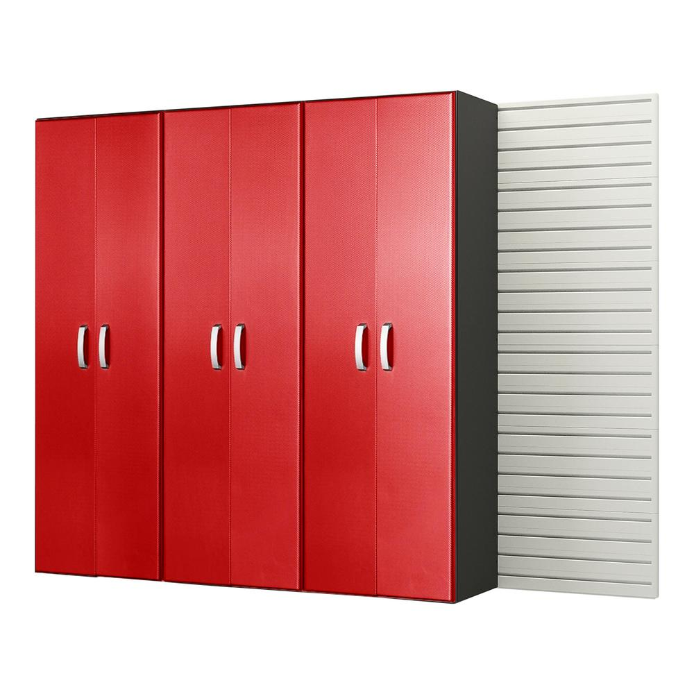 Modular Wall Mounted Garage Cabinet Storage Set in White/Red Carbon Fiber