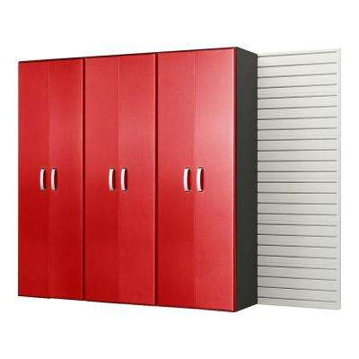 Modular Wall Mounted Garage Cabinet Storage Set in White/Red Carbon Fiber (3-Piece)