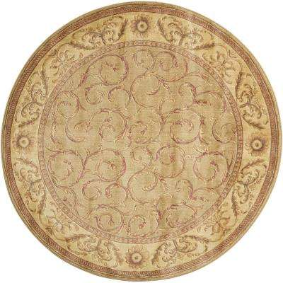 Scrollwork Meadow 5 ft. 6 in. Round Area Rug