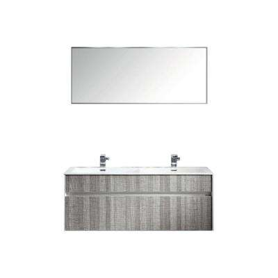 Ashy 48 in. W x 20.5 in. D x 22 in. H Vanity in Gray with Acrylic Top in White with White Basin