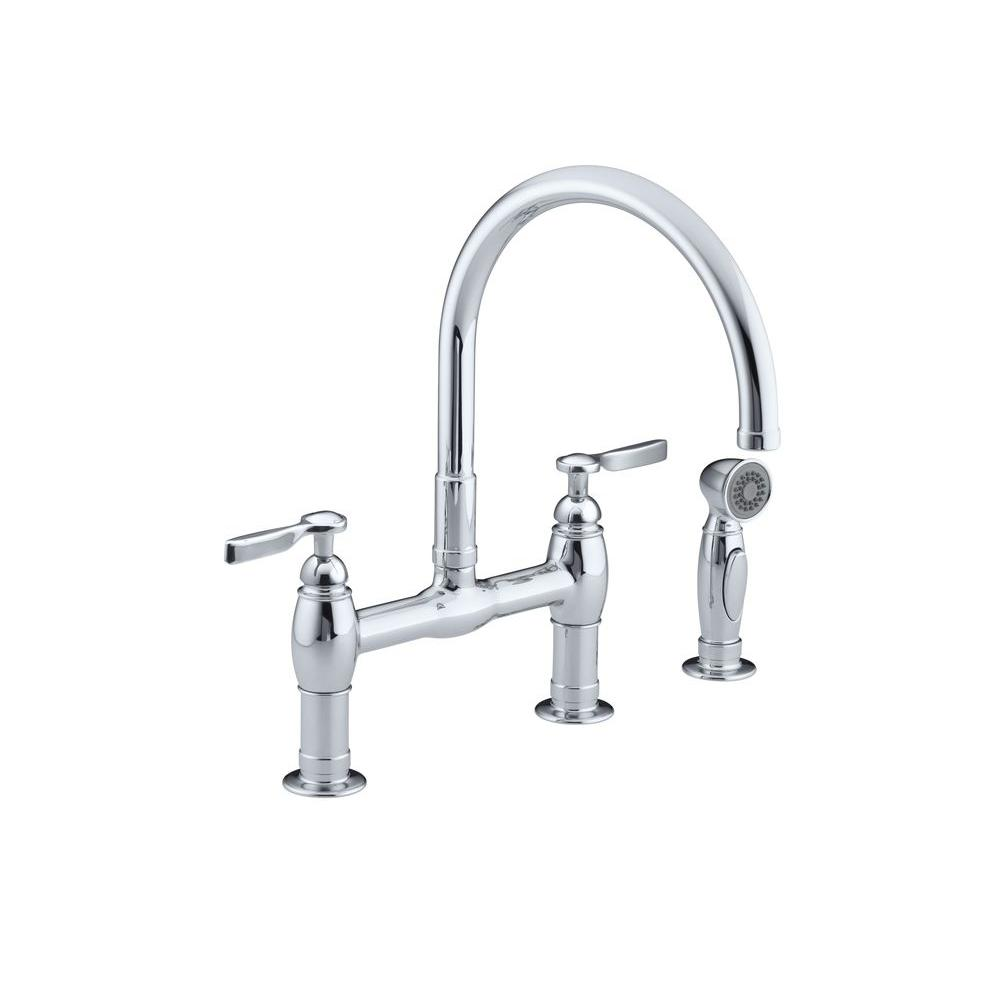 KOHLER Parq 2-Handle Bridge Kitchen Faucet with Side Sprayer in Polished Chrome