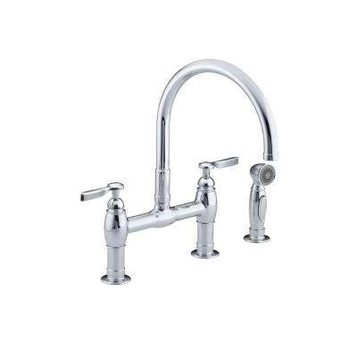Parq 2-Handle Bridge Kitchen Faucet with Side Sprayer in Polished Chrome