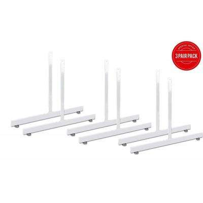White Gridwall T-Base Rectangular Tube with Levelers (Set of 3 Pairs)