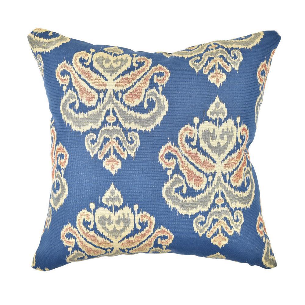 Blue Earth Tone Damask Throw Pillow