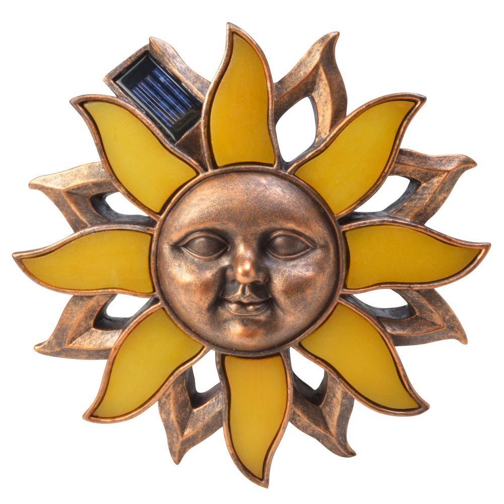 Moonrays Solar Powered Antique Bronze Outdoor LED Poly Sun Wall Art Light
